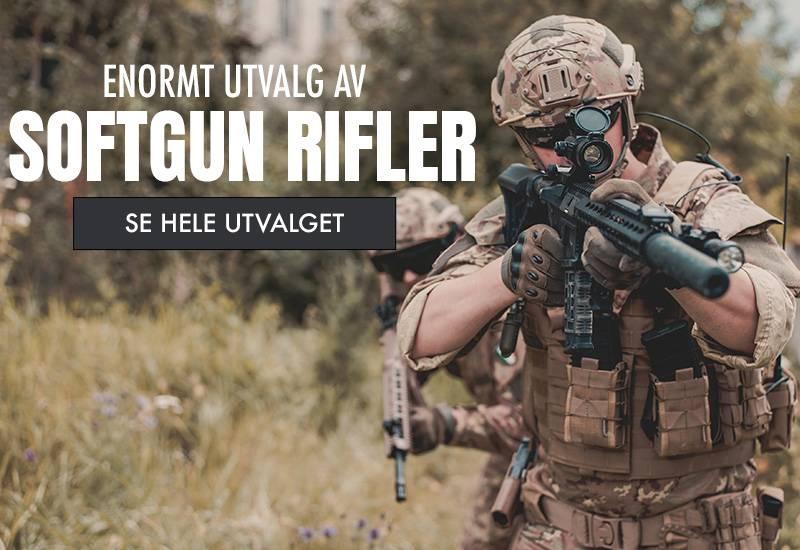 Her finner du våre softgun rifler, softgun snipers, softgun hagler og gassdrevne airsoft rifler.