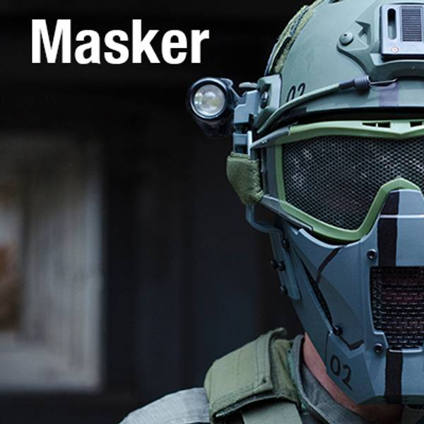 Enormt utvalg masker til softgun - Finn den masken som passer ditt behov. Her har du airsoftmasker som kommer med skinnputer, ørebeskyttelse, forskjellige mønster og farger.